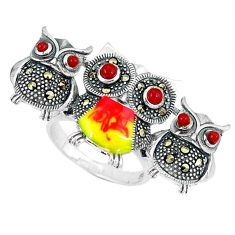 Clearance Sale-Natural honey onyx marcasite enamel 925 silver owl ring size 8.5 a50947