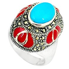 Clearance Sale-925 silver blue sleeping beauty turquoise marcasite ring size 6.5 a50990