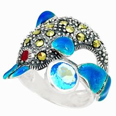 Clearance Sale-Natural blue topaz swiss marcasite 925 silver dolphin ring size 5.5 a50997
