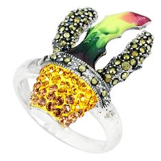 Clearance Sale-Natural lemon topaz marcasite enamel 925 silver ring jewelry size 8.5 a51133