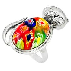 Clearance Sale-Multi color italian murano glass 925 sterling silver cat ring size 7 a51918