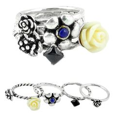 Clearance Sale-Natural black onyx lapis lazuli 925 silver stackable 4 band ring size 6 a52116
