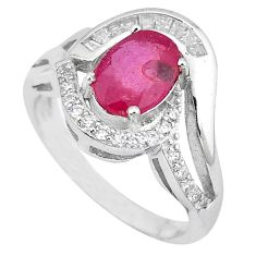 Clearance Sale-Natural red ruby topaz 925 sterling silver ring jewelry size 8 a52776