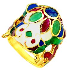 Clearance Sale-925 silver handmade natural green emerald ruby gold frog thai ring size 9 a53285