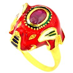 Clearance Sale-Handmade natural ruby enamel 925 silver gold elephant thai ring size 8 a53332