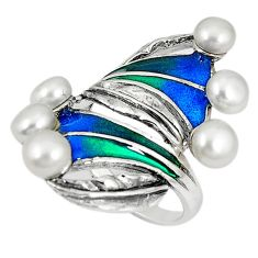 Clearance Sale-Art nouveau 925 sterling silver natural white pearl enamel ring size 8 a53971
