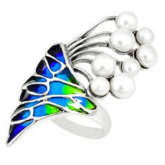 Clearance Sale-Art nouveau natural white pearl enamel 925 sterling silver ring size 7 a53975