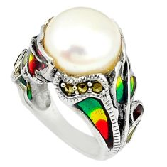 Clearance Sale-Art nouveau natural white pearl marcasite enamel 925 silver ring size 6 a53977