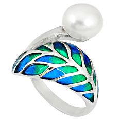 Clearance Sale-Art nouveau natural white pearl enamel 925 sterling silver ring size 7.5 a53978
