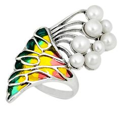Clearance Sale-Art nouveau 925 sterling silver natural white pearl enamel ring size 7 a54049