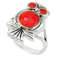 Clearance Sale-Red sponge coral enamel 925 sterling silver owl ring jewelry size 6 a55111