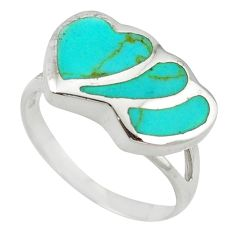 Clearance Sale-925 sterling silver fine green turquoise enamel heart ring size 7.5 a55133