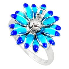 Clearance Sale-925 sterling silver multi color enamel flower ring jewelry size 9 a56258