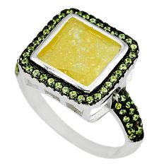 Clearance Sale-Yellow crack crystal square topaz 925 sterling silver ring size 7.5 a56316