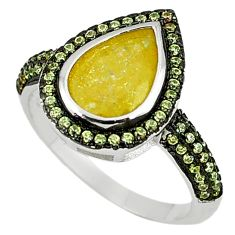 Clearance Sale-Yellow crack crystal pear topaz 925 sterling silver ring size 8.5 a56333