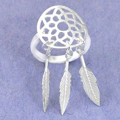 Clearance Sale-Natural white shiva eye 925 silver dreamcatcher ring jewelry size 5 a57280