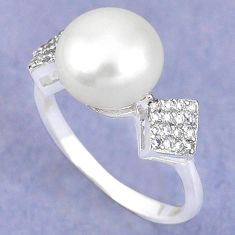 Clearance Sale-925 sterling silver natural white pearl topaz ring jewelry size 8 a57865