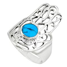Clearance Sale-Fine blue turquoise 925 silver hand of god hamsa ring jewelry size 7 a58242