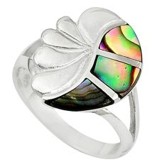 Clearance Sale-Green abalone paua seashell enamel 925 sterling silver ring size 6 a58870