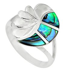 Clearance Sale-Green abalone paua seashell 925 sterling silver ring jewelry size 6.5 a58871