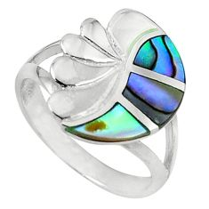Clearance Sale-Green abalone paua seashell enamel 925 silver ring jewelry size 6 a58897