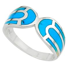 Clearance Sale-Fine blue turquoise enamel 925 sterling silver ring jewelry size 9 a58937