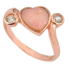 925 sterling silver natural pink opal topaz 14k gold ring size 9 a59028