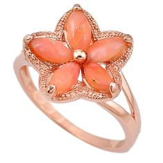 Natural pink opal marquise 925 sterling silver 14k gold ring size 8.5 a59092