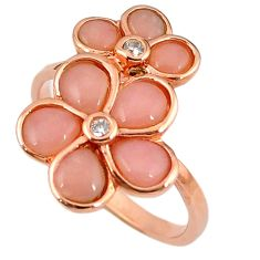 Natural pink opal topaz 925 silver 14k rose gold ring jewelry size 8.5 a59106
