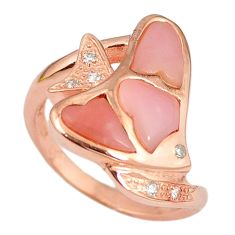 Natural pink opal topaz 925 silver 14k rose gold ring jewelry size 7.5 a59125