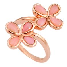 925 sterling silver natural pink opal 14k rose gold ring jewelry size 7.5 a59129