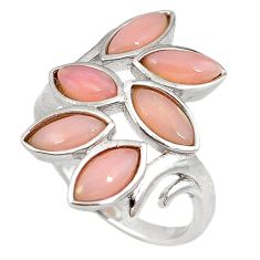 925 sterling silver natural pink opal marquise ring jewelry size 7.5 a59137