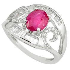 Natural red ruby topaz round 925 sterling silver ring jewelry size 8 a59729