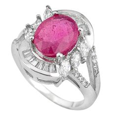 Natural red ruby oval topaz 925 sterling silver ring jewelry size 7 a59756