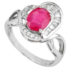 Natural red ruby oval topaz 925 sterling silver ring jewelry size 7 a59762