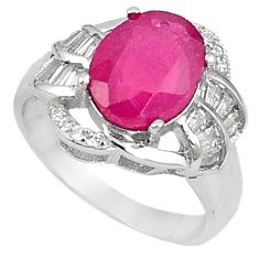 Natural red ruby topaz 925 sterling silver ring jewelry size 7.5 a59775