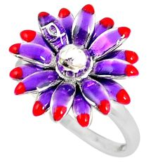 Multi color enamel 925 sterling silver flower ring jewelry size 9 a59915