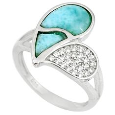 Natural blue larimar topaz 925 sterling silver ring jewelry size 6.5 a60125
