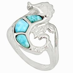 Natural blue larimar white topaz 925 silver seahorse ring jewelry size 6 a60681