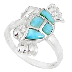 925 sterling silver natural blue larimar topaz crab ring jewelry size 8.5 a60687