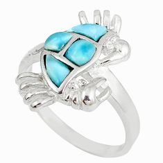 Natural blue larimar topaz 925 sterling silver crab ring jewelry size 9 a60707