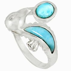 Natural blue larimar 925 sterling silver seahorse ring jewelry size 7.5 a60712