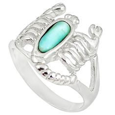 925 sterling silver natural blue larimar scorpion charm ring size 8 a60713
