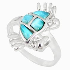 925 sterling silver natural blue larimar topaz crab ring jewelry size 8.5 a60718