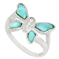 Natural blue larimar topaz 925 sterling silver butterfly ring size 8 a60727