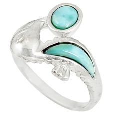 Natural blue larimar 925 sterling silver ring jewelry size 9.5 a60729