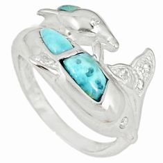 Natural blue larimar white topaz 925 sterling silver ring size 6.5 a60743