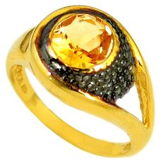 Natural yellow citrine black rhodium 925 silver 14k gold ring size 7 a60759