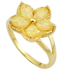 Natural white australian opal (lab) 925 silver 14k gold ring size 9.5 a61088