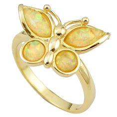 Natural white australian opal (lab) 925 silver 14k gold ring size 9.5 a61107